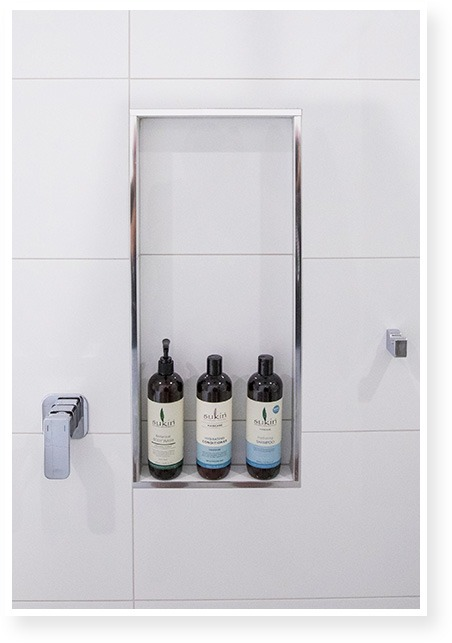 Shower with Shampoos on Holder